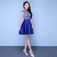 Vestido de seda azul corto