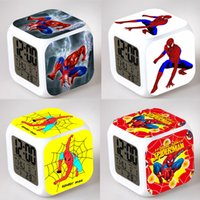 Wholesale Spider Man Digital Alarm Clock - Wholesale-Spider Man Alarm Night Light Clock Lovely Popular Square LED Colorful Digital Electronic Clock America Anime Toys Small Gift #F