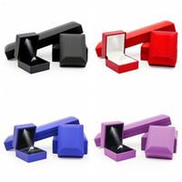 Wholesale Bracelet 4pcs - Deluxe 4Pcs Set Excellent Rubber Painted Jewelry Set Display Box LED Light Engagement Ring Pendant Bracelet Necklace Package 4 Color
