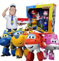 Hot Sales 5pcs / set Big size Super Wings Deformation Robot d'avion Figurines d'action Super Wings Transformation Robots de robot