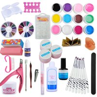 Wholesale Glue Kit Uv - supplier Full 12 pcs solid UV gel Polish Kit Set Nail Brush sets Topcoat TOP Glue File French Nail