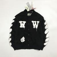Wholesale Boy Xl Sweater - high street brand boys casual jacket winter off white Doodle twill mens baseball uniform Metrosexual yeeus hip hop sweater