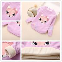 Wholesale Wool Sweaters For Kids - Wholesale Girls Pullover Fox Sweater 3 colors Korean Style Kids Sweaters for girls Children Wool Clothing Girls Cardigans LA331