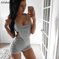 Wholesale Trousers Suspenders Women - Women Suspender Shorts Casual Sleeveless Solid Pocket Brace Shorts Side Zipper Casual Jumpsuit Romper Short Trousers Overalls Grey SVH034260