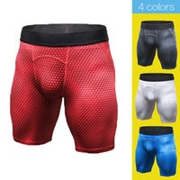 Wholesale Male Leggings - Hot Men's Print Sports Tight Shorts Quick Dry Breather Running Fitness Leggings Male Training Gym Sports Shorts