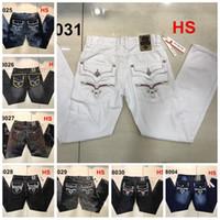 Wholesale American Flag Jeans For Men - new luxury rock mens designer biker jeans men robin jeans famous brand revival robins pants denim with wings american flag jeans for men