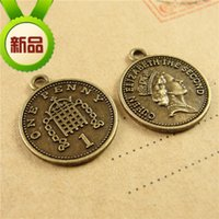 Wholesale Brass Coin Charms - 17*19MM Zinc alloy metal coin Queen Elizabeth the second one penny charms, vintage antique brass round tag pendant accessories DIY wholesale