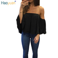 Wholesale Loose White Chiffon Blouse - Fashion Women Chiffon Blouse Summer Slash Neck White Loose Shirt Plus Size Clothing Blusas Femininas Off Shoulder Tops 17301