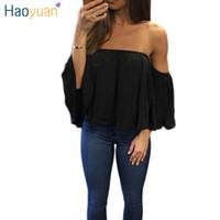 yaz şifon bluz artı boyutu toptan satış-Moda Kadın Şifon Bluz Yaz Slash Boyun Beyaz Gevşek Gömlek Artı Boyutu Giyim Blusas Femininas Kapalı Omuz Tops 17301