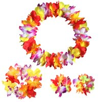 Wholesale Petal Flower Necklace - Wholesale- 4 pcs set Festival Wedding Party Decorations Supplies Hawaiian Luau Petal Leis Party Beach Tropical Flower Necklace