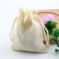 Wholesale linen fabrics wholesale for sale - Hot Beige Linen Fabric Drawstring bags Candy Jewelry Gift Pouches Burlap Gift Jute bags x14cm x18cm x20cm