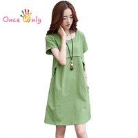 Wholesale Linen Club Clothes - Wholesale- M - XXXL 2016 Summer Thin New Casual Women Loose Linen Dress Orange Blue Green Red Ladies Summer Dress Plus Size Womens Clothes