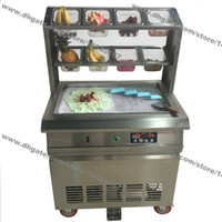 Wholesale Electric Frying Fries - Free Shipping Stainless Steel 110v 220v Electric 64x40cm Fry Pan Thai Fried Ice Cream Yogurt Roll Maker Machine With 8 Boxes
