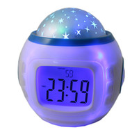 Wholesale Starry Star Sky Projection Projector - Colorful Music Starry Star Sky Projection projector Children Room Sky Star Night Light with Alarm Clock Calendar Thermometer Christmas
