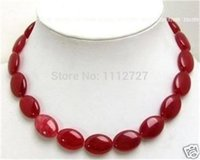 """Wholesale Oval Beads 13x18mm - Wholesale- Fashion jewelry Pretty 13x18mm Red Chalcedony Flat Oval Beads Necklace Natural Stone Mother's Day gifts 18"""" MY4327 Wholesale"""