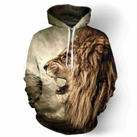 Wholesale Nice Girls Boys - 2017 winter new nice manufactured hoodies 3d print cruel hamster animals lion tiger cute boys girls high quality lace pullover sweatshirt