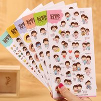 Wholesale Girls Sticker Album - Wholesale- 12 sheets  Lot DIY Cute Kawaii Cartoon Girl Stickers for Diary Notebook Photo Album Decoration PVC Sticker Stationery