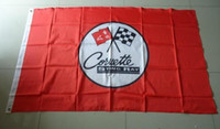 Wholesale Wholesale Corvette - Wholesale-corvette stingay Red flag , 90X150CM size,100% polyster free shipping