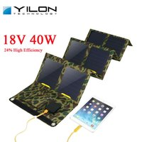 Wholesale Solar Panel For Car Charger - Wholesale-YILON Portable Foldable Solar Panel Charger 40W 18V 5V Dual Ports Solar Charger For Phone Tablet Laptops and 12V Car Battery