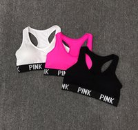 Wholesale Women Pink Sports Yoga Bras Seamless Racerback Bra Gym Fitness Tank Top Vest For Women Elastic Breathable Padded Bra Underwear
