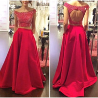 Wholesale green dress two pockets - 2018 New Two Piece Prom Dresses Long Red Bbeaded O-Neck vestidos de baile Formal Evening Party Gowns Open Back
