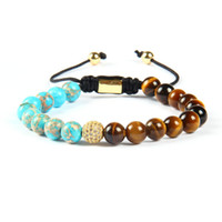 Wholesale Lace Bracelets Beads - Summer Jewelry Wholesale 10pcs lot 8mm Sea Sediment Stone with A Grade Tiger Eye Beads Clear Cz Ball Lace Up Bracelet
