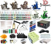 Wholesale Tattoo Complete Disposable Kits - Complete Tattoo Kit 6 machine Liner or Shader Gun 40 Color Inks Power Supply Foot Pedal Disposable Needle Tip Stainless Grip TK-32