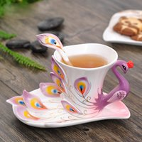 Wholesale Peacock Tea Cup Set - Peacock Coffee Cup Ceramic Creative Mugs Bone China 3D Color Enamel Porcelain Cup with Saucer and Spoon Coffee Tea Sets