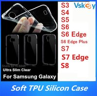 Wholesale Soft Silicone S4 - 200Pcs Ultra Slim TPU Case For Samsung Galaxy S7 Edge S3 S4 S5 S6 Edge S8 Plus Gel Soft Transparent Silicon Back Cover