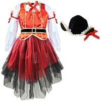 Wholesale Carnival Costume Pair - 2017 4pcs Girls Kids Children Halloween Carnival Cosplay Pirate Costume Princess Dress Outfits Tops Paired Royal costume suit