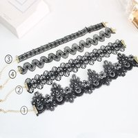 Wholesale Tattoos Lace Designs - Lace chokers necklaces for Women & girls Tattoo rope chains necklaces New design fashion multi shapes collar Necklaces Jewelry for gifts