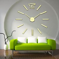 Wholesale Diy 3d Mirror Wall Clock - Wholesale- 2016 New Arrival 3D Home Decor Quartz DIY Wall Clock Large Clocks Horloge Watch Living Room Metal Acrylic Mirror 20 inch