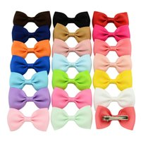 Wholesale 20Pcs Inch Colorful Barrettes Sweet Children Ribbon Bows Hairpin Baby Girls Hair Clip Kids Hair Accessories Beautiful HuiLin C45