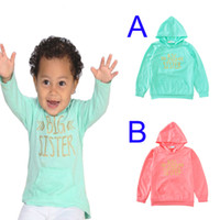 Wholesale Toddler Hoodies For Girls - Big Sister Toddler Boy Girl Hoodies Outerwear 2017 Spring Autumn Cute Arrow Long Sleeve Hooded Girls Boys T-shirt Tops For Kids Baby Clothes