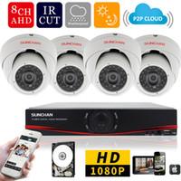 güvenlik kamerası dvr kitleri toptan satış-8ch 1080 P AHD-H DVR 4 ADET 2.0MP 1080 P Kapalı Dome Güvenlik Kamera DVR Kitleri CCTV Ev Video Gözetim Sistemi w / HDD