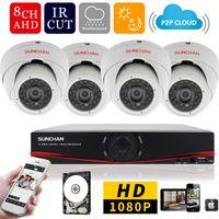 8ch sistema de vigilancia en casa al por mayor-8ch 1080 P AHD-H DVR 4PCS 2.0MP 1080P cámara domo de seguridad cámara de seguridad DVR Kits CCTV Home Video Sistema de vigilancia w / HDD