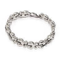 Wholesale TL stainless steel link chain bracelet plated silver durable never faded high quality hot selling bear