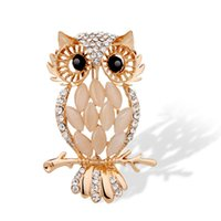 Wholesale Flying Owls - Wholesale- Gold Animal Flying Horse Crystal Vintage Owl Brooches Wholesales Fashion Jewelry for women $5 Free Shipping 6187