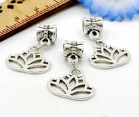 150 Pcs / lot tibétain alliage d'argent Lotus fleur charmes Dangle perles Fit European Bracelet bijoux faisant Diy 26x17mm trou 4mm