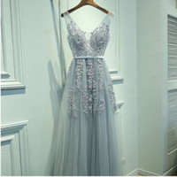 spaghetti strap homecoming dresses - Elegant Dusty Blue Long Tulle Prom Dress A Line Appliques Beaded V Neck Homecoming Dress Graduation Dress for Party Sheer Straps Prom Gown