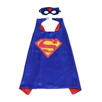 Wholesale red blue deck - 70*70CM double-deck Super hero Capes and mask set Superhero cosplay capes+mask Halloween cape mask for Kids 2pcs set