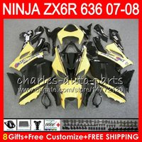 Wholesale Yellow Zx6r - Bodywork For KAWASAKI NINJA Yellow black ZX636 ZX6R 07 08 600CC ZX600 C 26NO39 ZX 600 ZX 636 ZX 6R 07 08 ZX-636 ZX-6R 2007 2008 Fairing kit