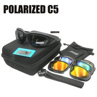 Wholesale tactical safety goggles - Daisy C5 Polarized Safety Glasses Tactical Army Goggles Outdoor Wargame Sports glasses 100% UV400 protection 4 lens