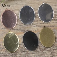 Wholesale Copper Pendant Trays - BoYuTe 10Pcs 30*40MM Oval Cabochon Base 6 Colors Plated Diy Metal Pendant Blank Tray Jewelry Accessories