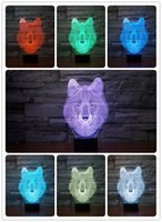 Wholesale Luces Led Navidad - Gifts 7 Colors Changing Animal Luces Navidad wolf Led Night Lights 3D LED Desk Table Lamp Bedside Lamps as Home Decoration