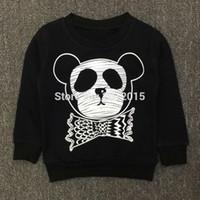 Wholesale Kids Panda Hoodie - Wholesale- Hot selling 2017 KIKIKIDS Baby Boys& Girls Long Sleeves cute Panda Pattern Sweatshirts Children Kids Cotton Long Sleeves Hoodies