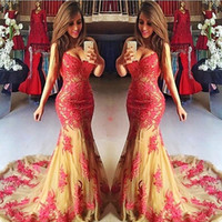 Wholesale Fast Train Pictures - Mermaid Prom Dresses Long Sweetheart Lace Appliques Tulle Girls Pageant Party Gowns Count Train Fast Delivery Vestidos Evening Dress Long