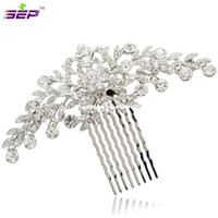 Wholesale bridal jewelry head pieces resale online - Clear Rhinestone Crystals Wedding Bride Bridal Floral Hair Comb Head Pieces Hair Pins Jewelry Accessories COFA2944