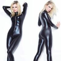 Wholesale Shiny Black Pvc Dress - Women Sexy Wet Look Shiny Black PVC GOTHIC Catsuit Playsuit Bodysuit Zipper Fancy Dress Clubwear