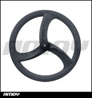 Wholesale Hed Spoke Clincher - 700c carbon tri spoke wheelset track bike wheels or road bicycle carbon 3 spokes with HED painting